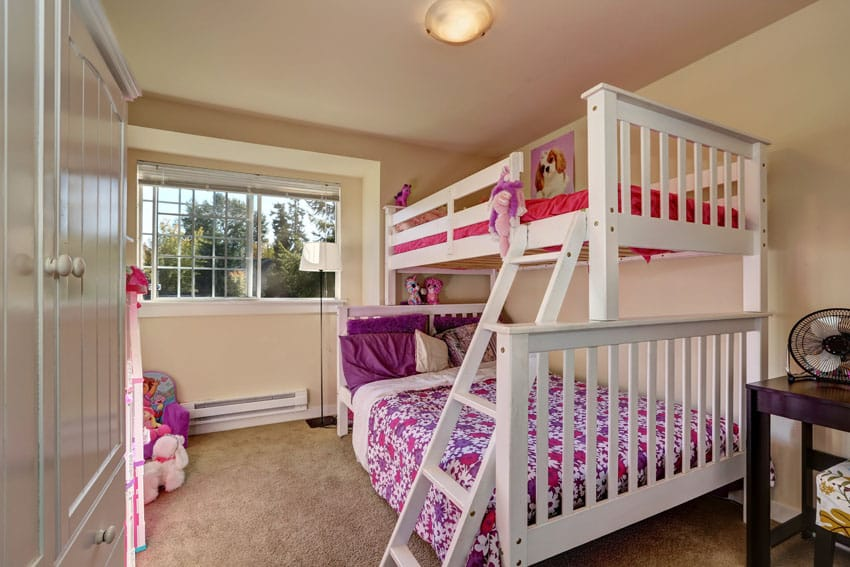 Girls room with large bunk beds