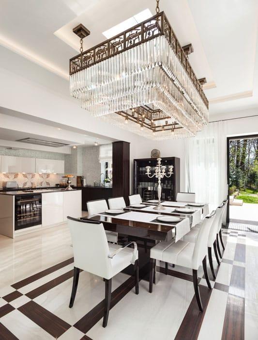 Modern dining room with beautiful rectangular light fixture