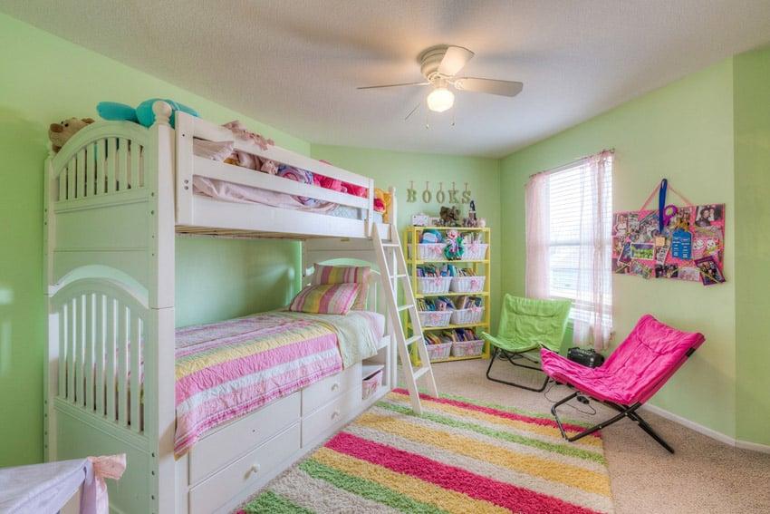 White bunk bed in girls bedroom