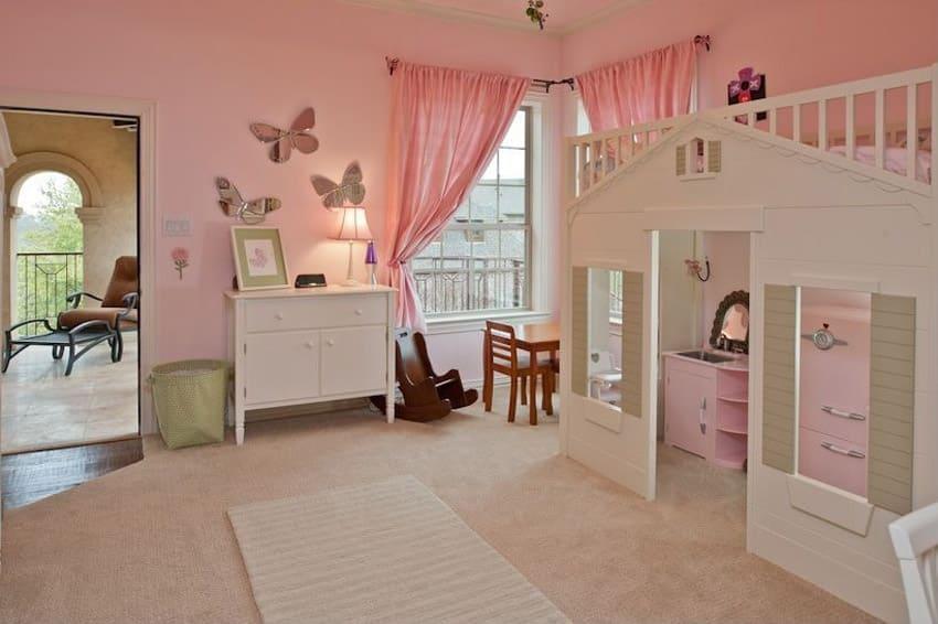 White color house design bunk bed in girls bedroom