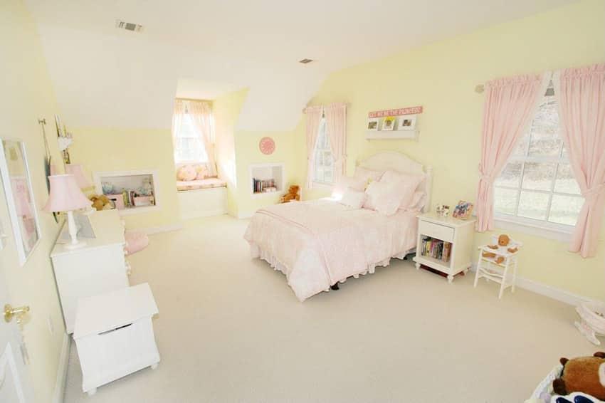 Yellow color girls bedroom