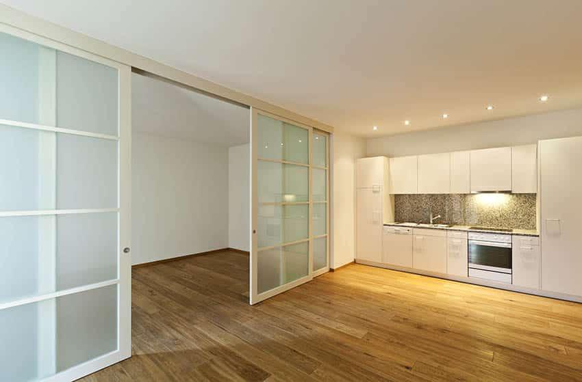 Interior sliding door in modern kitchen