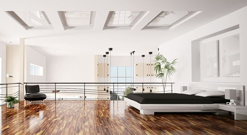 Modern loft bedroom interior with skylight ceiling
