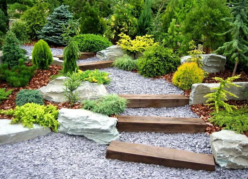 Garden path with gravel and pressure treated lumber