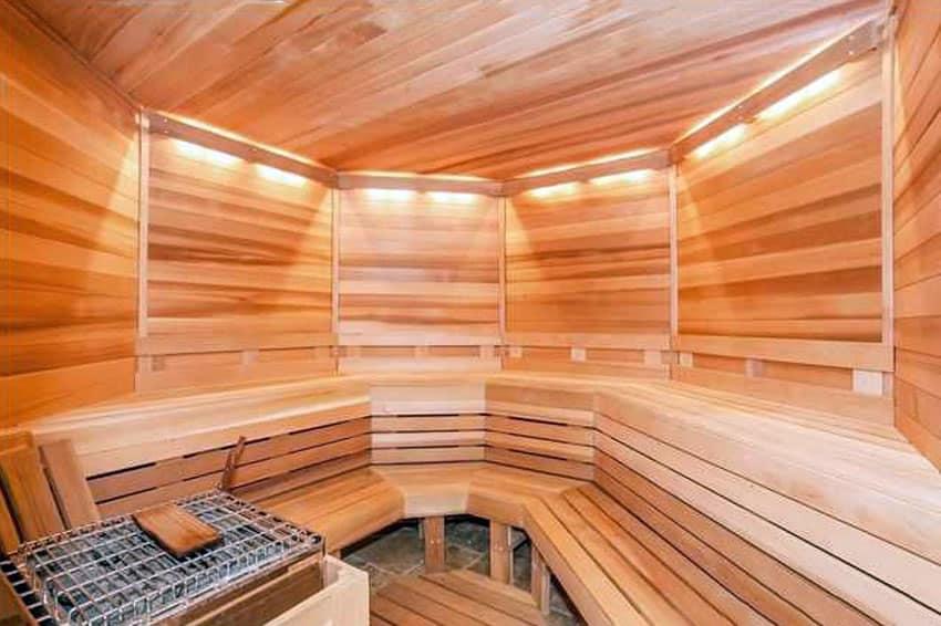 Indoor wood sauna in basement