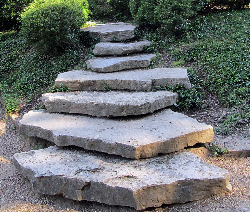 Large rough stone steps path