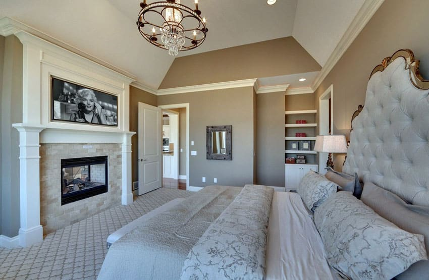 Romantic bedroom with fireplace