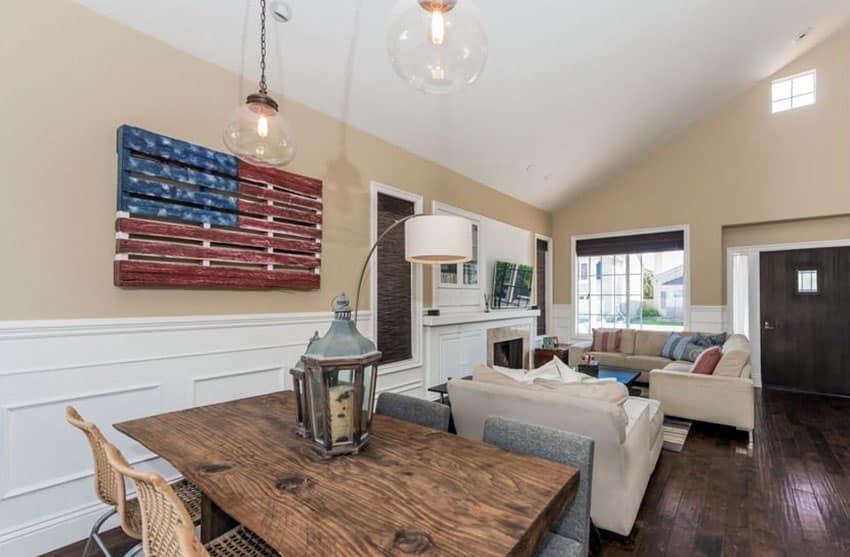 American flag pallet decor in living room