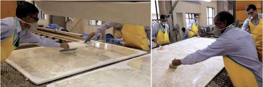 Applying resin treatment to granite countertop