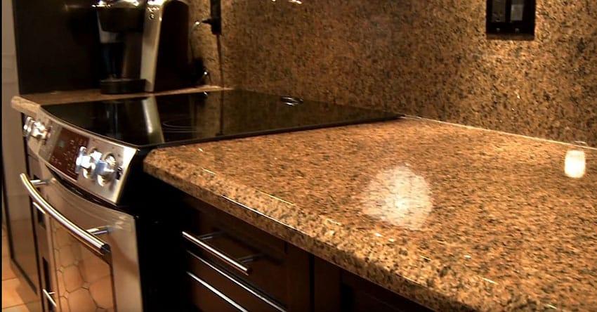 Granite counter with matching backsplash
