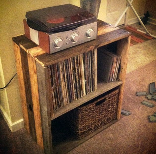 Homemade pallet record stand