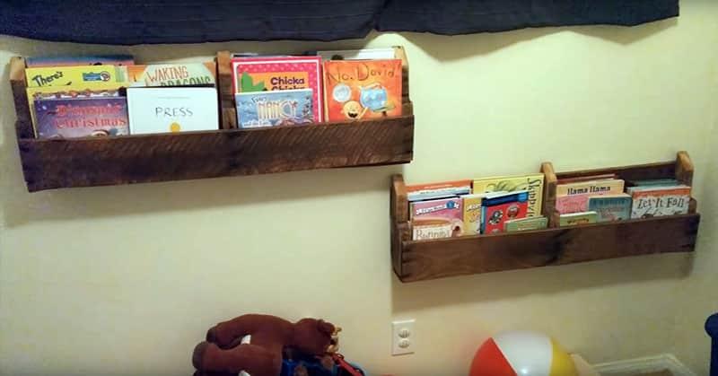 Kids room diy pallet shelves