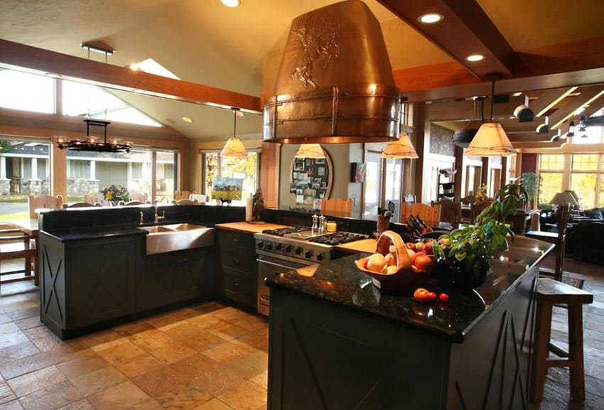 Kitchen with absolute black granite counter on u shape island