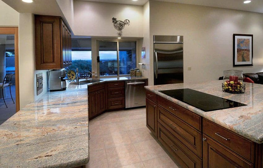 Kitchen with kashmir gold granite