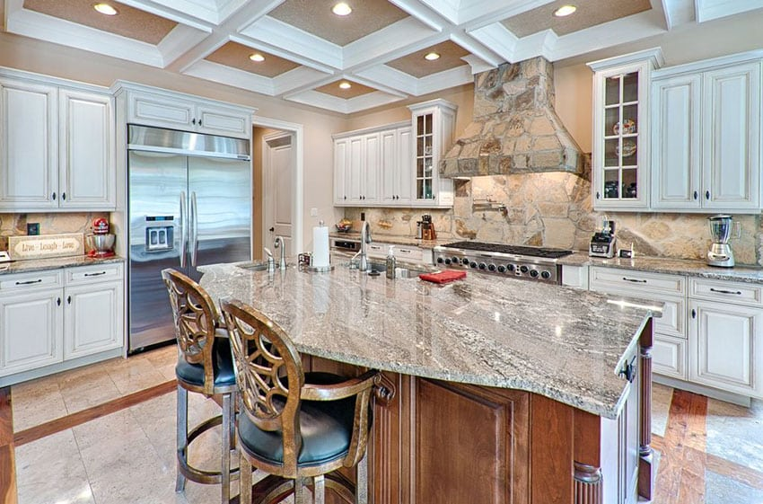 Luxury kitchen with island and lennon granite countertops