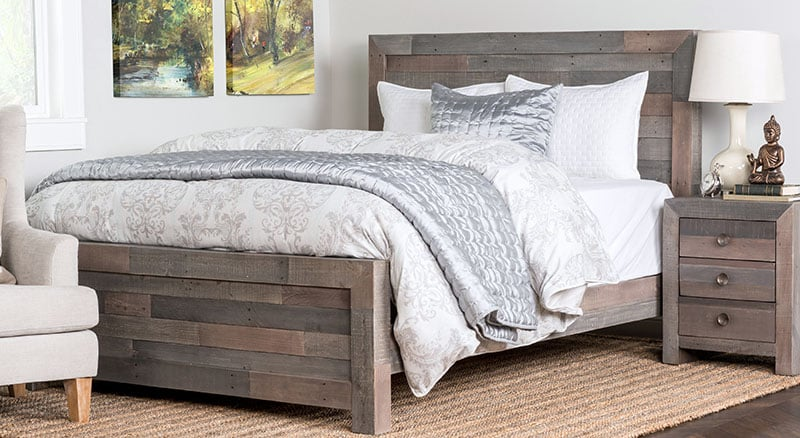 Pallet bed frame with matching night stand