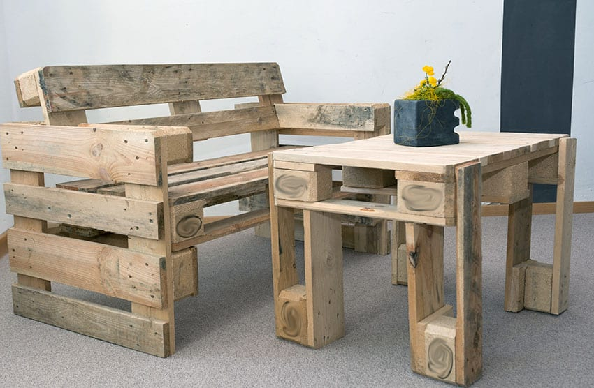 Reclaimed wood pallet chair and table