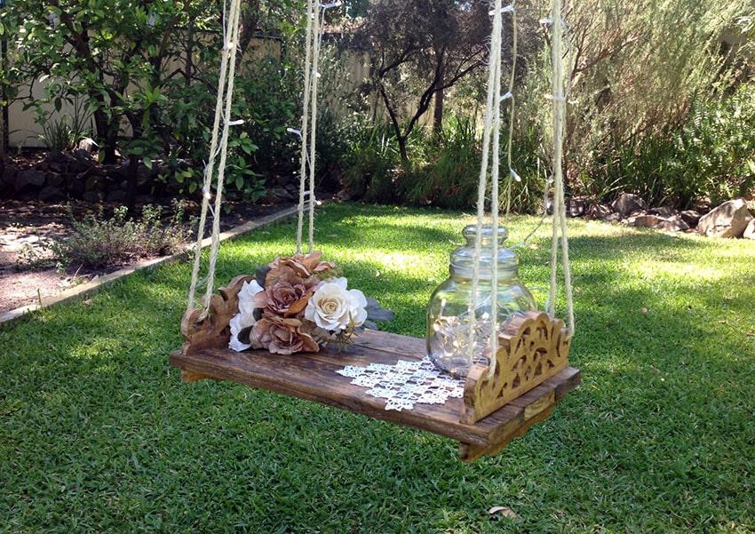 Rustic wood pallet swing