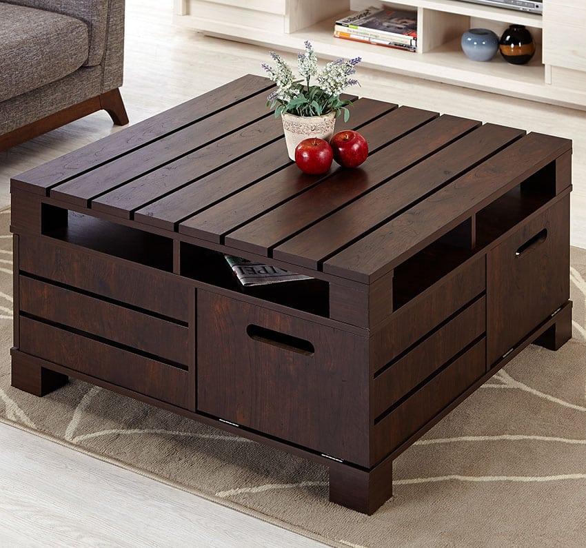 Wood pallet coffee table painted dark brown
