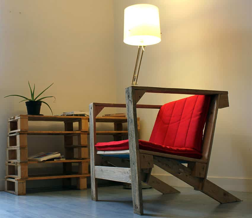 Wood pallet table and chair with cushion
