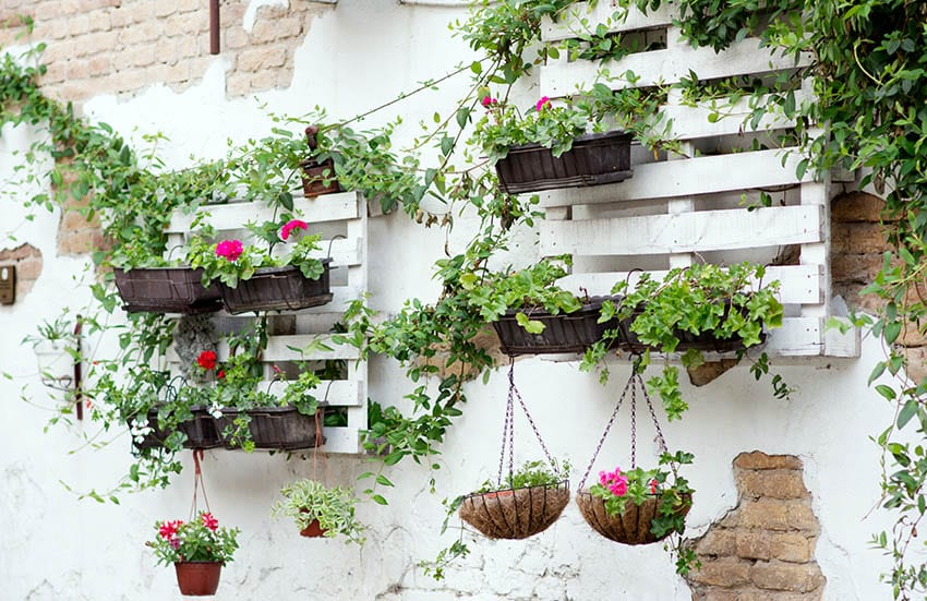 Hanging pallets with planter boxes and flowers