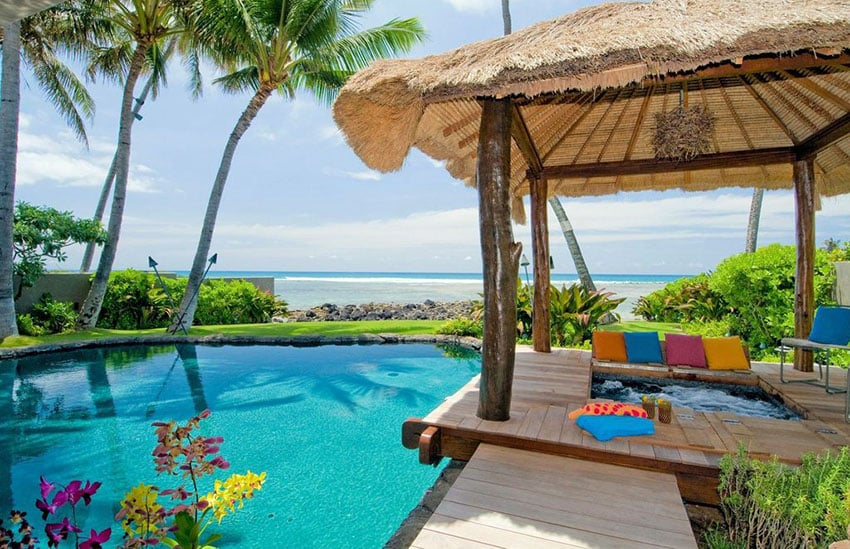 Hot tub cabana and swimming pool with ocean views