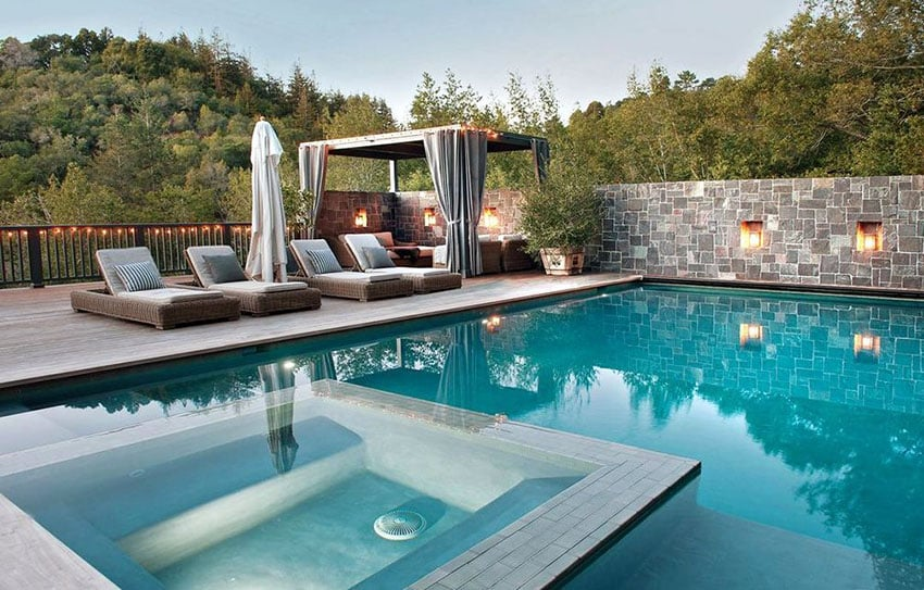 Luxury Swimming Pool With Cabana And Lounge Chairs