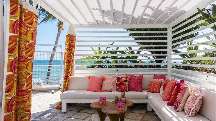Ocean cabana with orange decor