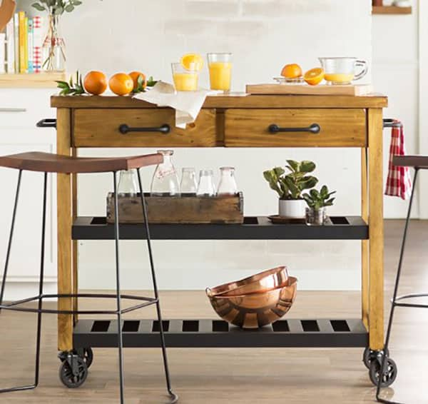 Portable wood kitchen cart with metal shelves and wheels