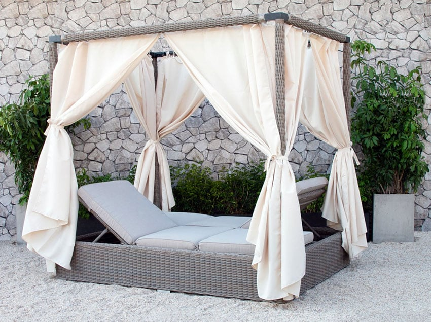 Portable pool canopy with double chaise lounge with curtains
