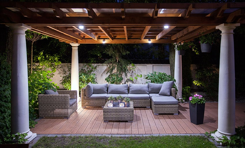 Backyard covered deck with tall flower box