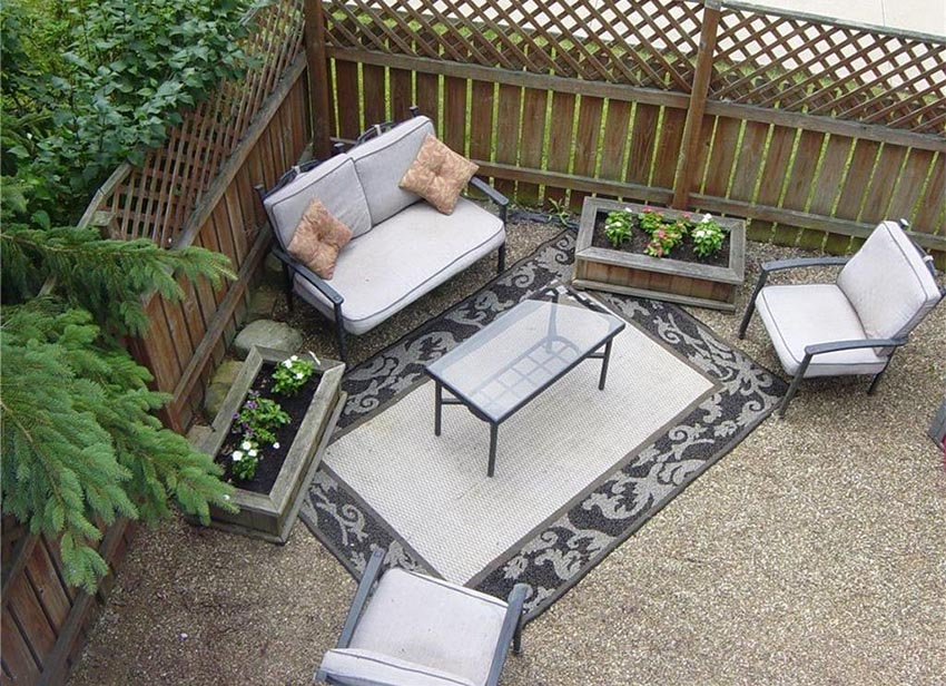 Backyard patio with wood flower boxes