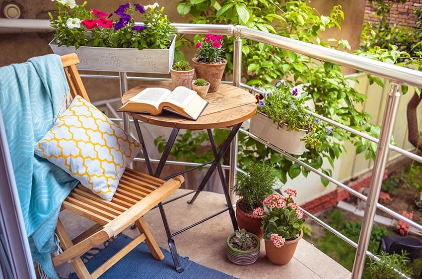 Balcony planter box with sitting area
