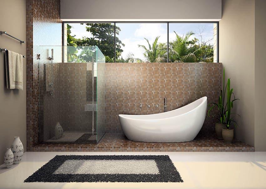 Modern bathroom with frameless shower door