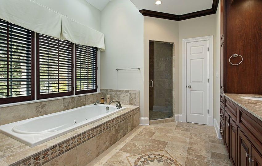 Master bathroom with steam door for shower