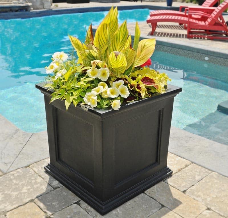 Brown plastic planter flower box