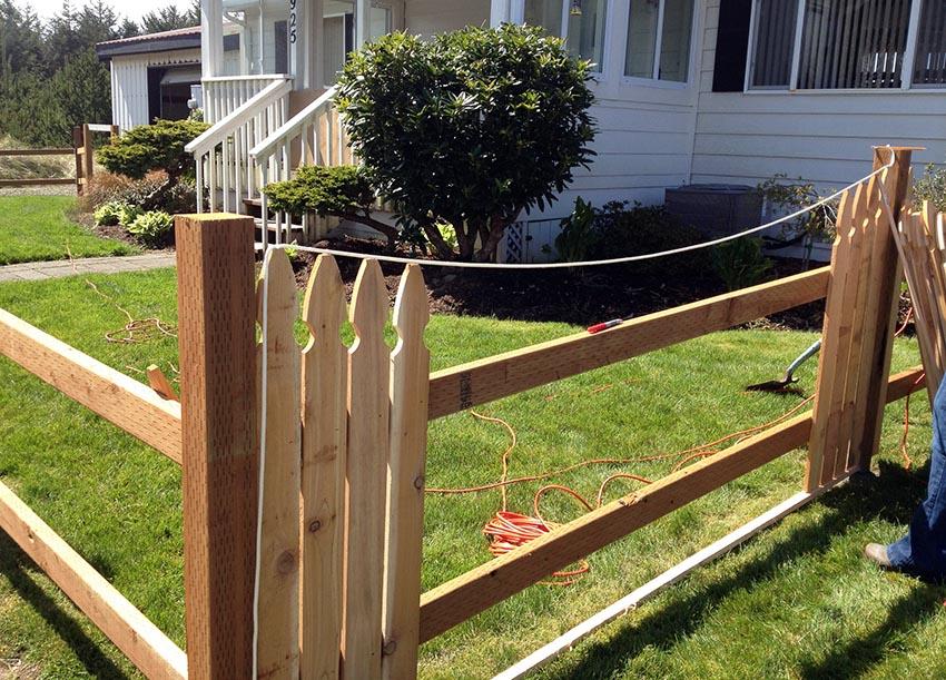 Building cedar picket fence