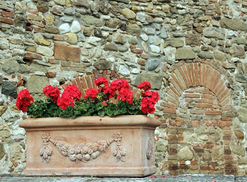 Ceramic flower box with red geraniums
