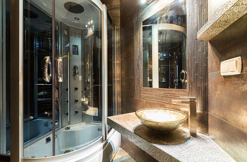 Contemporary bathroom with round shower door