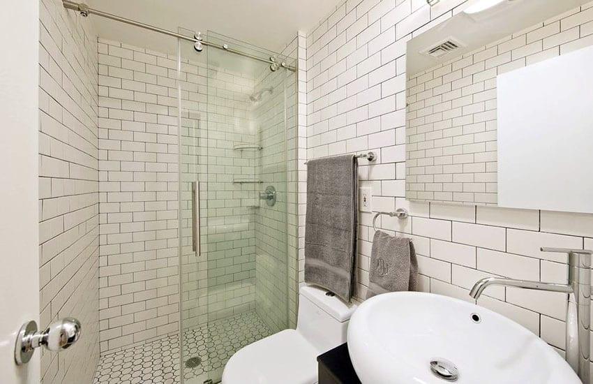 Contemporary bathroom with sliding shower door