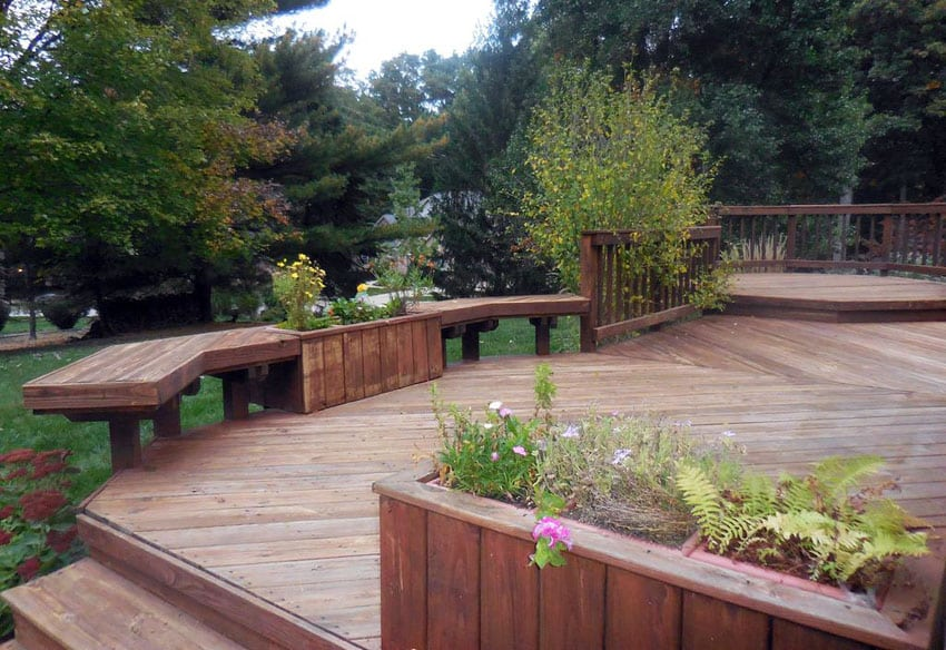Custom wood deck with built in flower boxes