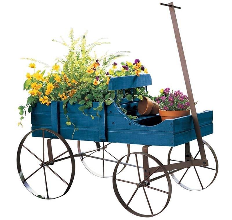 Decorative garden wagon flower box planter