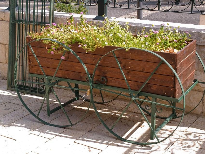 Decorative wood wagon flower box