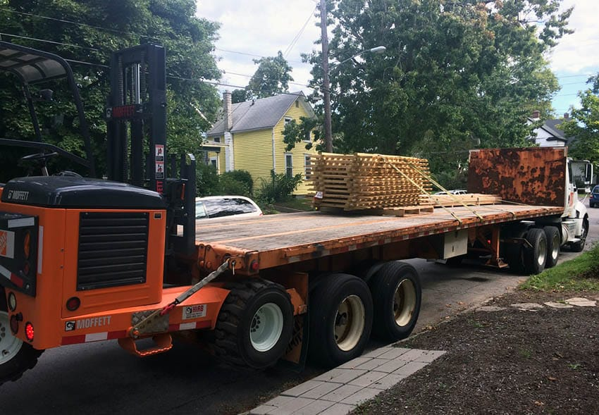 Delivery of wood picket fence panels