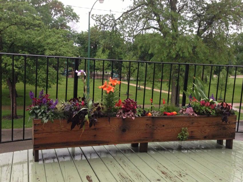 DIY wood flower box on wood deck