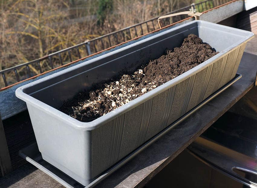 Flower box planter with soil