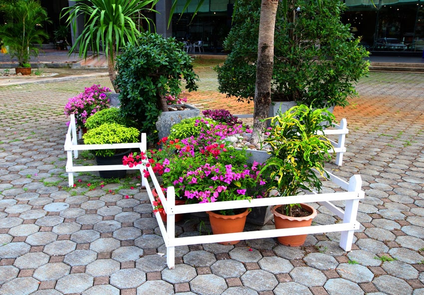 Flowers in pots with decorative fence style flower box