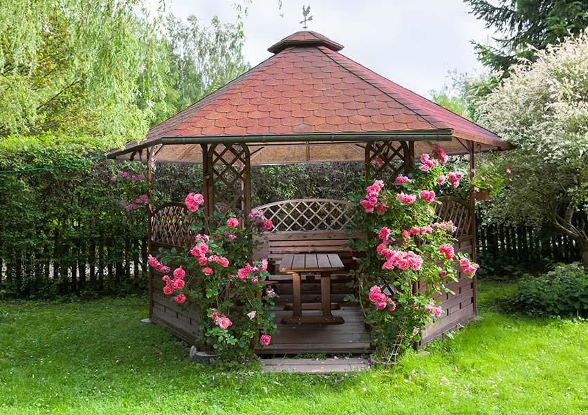 Gazebo with flowers and decorative lattice