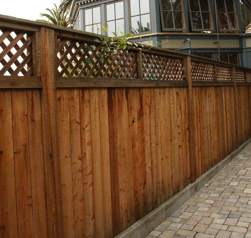 Good neighbor redwood fence with lattice top