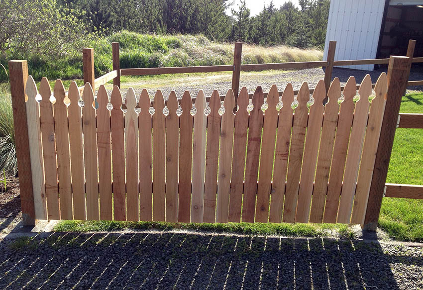 Installing cedar picket fence with pressure treated posts